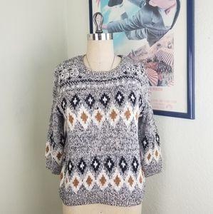 H&M Cozy Boxy 3/4 Sleeve Knit Sweater Medium